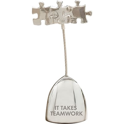 Baudville® Silver Memo Holder with Puzzle Pieces, It Takes Teamwork