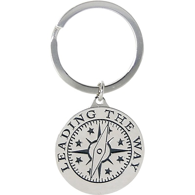 Baudville® Nickel Finish key chain with Compass Graphic, Leading by Example