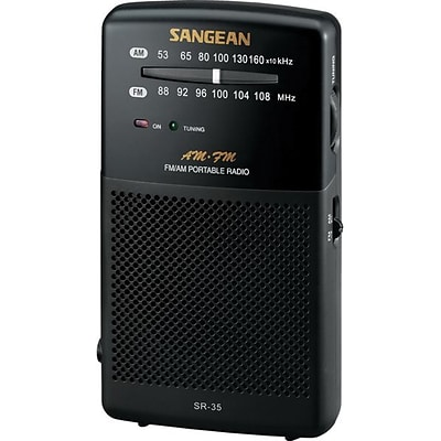 Sangean SR35 Black Hand Held Pocket Radio w/ Built In Speaker, FM/AM