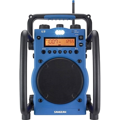 Sangean U3 Blue Utility/Worksite Radio w/ FM/AM Ultra Rugged Digital Tuning