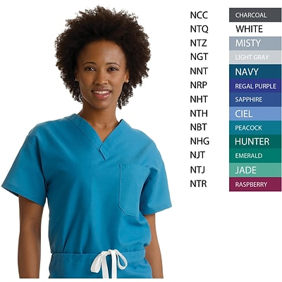 Angelstat® Unisex Two-pocket A-Stat Reversible V-neck Scrub Tops, Purple, Angelica Color-coding, XS