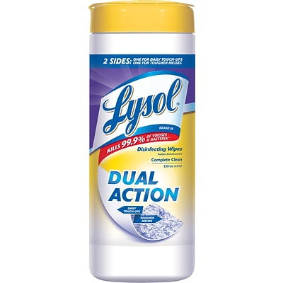 Lysol® DUAL ACTION™ Disinfecting Wipes, Citrus Scent, 35 Wipes/Canister (81143)