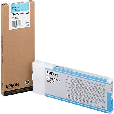 Epson 606 200ml Light Cyan UltraChrome Ink Cartridge (T606500); High Yield