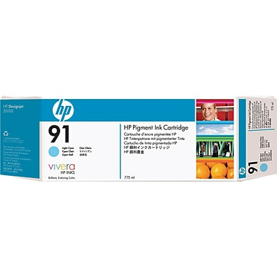 HP 91 Light Cyan Ink Cartridge (C9470A); 775ml