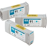 HP 91 Cyan Ink Cartridges (C9483A), 775ml, 3/Pack
