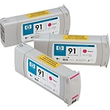 HP 91 Magenta Ink Cartridge; C9484A, Multi-pack (3 cart per pack)