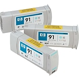 HP 91 Light Cyan Ink Cartridges (C9486A), 775ml, 3/Pack