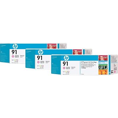 HP 91 Light Magenta Ink Cartridge, C9487A, Multi-pack (3 cart per pack)