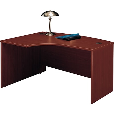Bush Business Westfield 60W x 43D Left Hand L-Bow Desk Shell, Cherry Mahogany