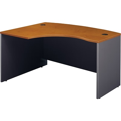 Bush Business Westfield 60Wx43D Left Hand L-Bow Desk Shell, Natural Cherry/Graphite Gray, Installed