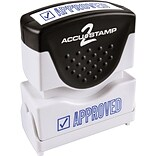 Accu-Stamp2® One-Color Pre-Inked Shutter Message Stamp, APPROVED, 1/2 x 1-5/8 Impression, Blue Ink