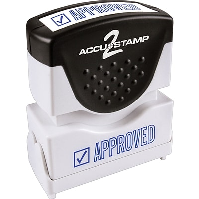 Accu-Stamp2® One-Color Pre-Inked Shutter Message Stamp, APPROVED, 1/2 x 1-5/8 Impression, Blue Ink (035575)