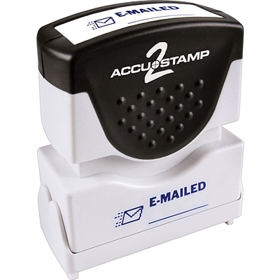 Accu-Stamp2® One-Color Pre-Inked Shutter Message Stamp, EMAILED, 1/2 x 1-5/8 Impression, Blue Ink (035577)