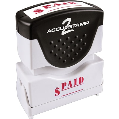Accu-Stamp2® One-Color Pre-Inked Shutter Message Stamp, PAID, 1/2 x 1-5/8 Impression, Red Ink (035578)