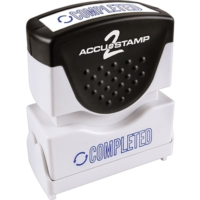 Accu-Stamp2® One-Color Pre-Inked Shutter Message Stamp, COMPLETED, 1/2 x 1-5/8 Impression, Blue Ink (035582)
