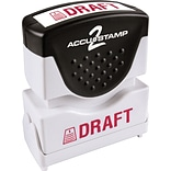Accu-Stamp2® One-Color Pre-Inked Shutter Message Stamp, DRAFT, 1/2 x 1-5/8 Impression, Red Ink (03