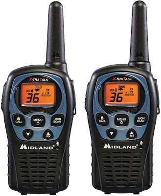 Midland 26 Mile Range 36 Channel Two Way Radio Pair, Black
