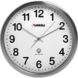 Lorell Brushed Nickel-plated Atomic Wall Clock, Chrome