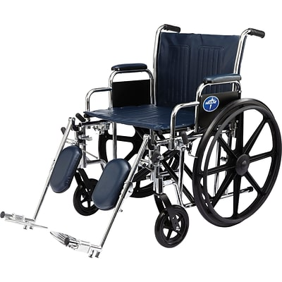 Medline Excel Extra-wide Wheelchairs, 20 W x 18 D Seat, Removable Full Arm, Elevating Leg