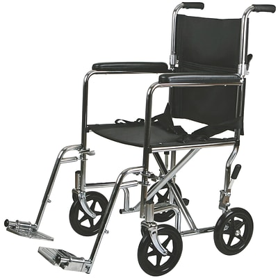 Medline Transport Wheelchairs, 19 W x 16 D Seat, Permanent Full Length Arm, Swing Away Leg, Each