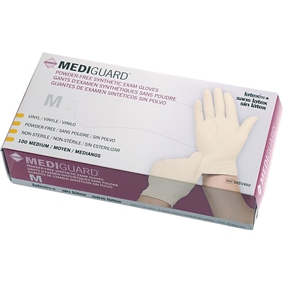 MediGuard® Stretch Synthetic Vinyl Exam Gloves, Beige, XL, 9 L, 1000/Pack