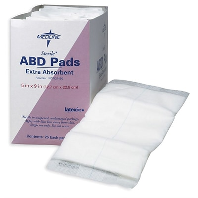 Medline Sterile Multi-Trauma Abdominal Pads, 30 L x 10 W, 50/Pack