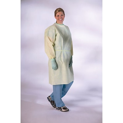 Medline Medium Weight Multi-ply Isolation Gowns, Yellow, XL, Elastic Wrist, 100/Pack