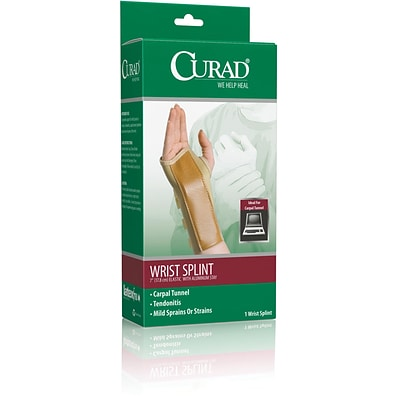 Curad® Elastic Right Wrist Splints, Medium, Retail Packaging, 4/Pack