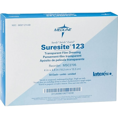 Suresite® 123 Transparent dressings; 12 L x 8 W, 100/Pack