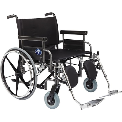 Medline Excel Shuttle Wheelchairs, 24 W x 20 D Seat, Removable Desk Length Arm, Elevating Leg