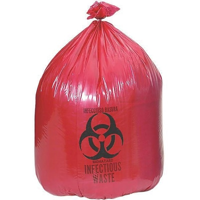 Medline Biohazard Liners; 10 gal, 24 L x 26 W, Red, 200/Pack