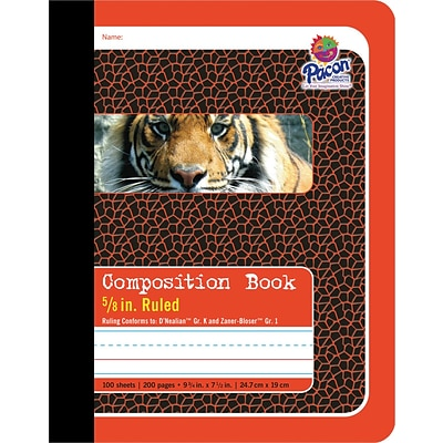 Pacon® Composition Book, 5/8 Ruling, 9-3/4 x 7-1/2 , 100 Sheets