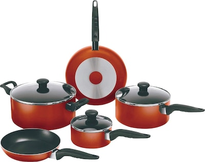 Wearever Mirro Get A Grip Non Stick 10 Piece Cookwear Set, Red