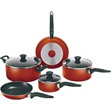 WearEver Mirro Get-A-Grip Non-Stick 10-Piece Cookwear Set, Red