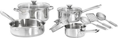Wearever Cook And Strain 10 Piece Cookware Set, Stainless Steel