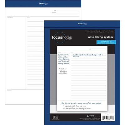 Tops® FocusNotes® Notepad, 8.5 x 11, White, 50 Sheets/Pad (77103)
