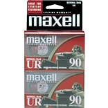 Maxell 108527-FLATPAK UR Type I Audio Cassette; 90 Minute, 2/Pack
