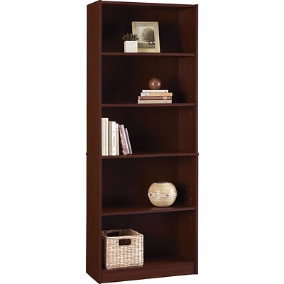 Hayden 5-Shelf Laminate Bookcase, Hilton Cherry