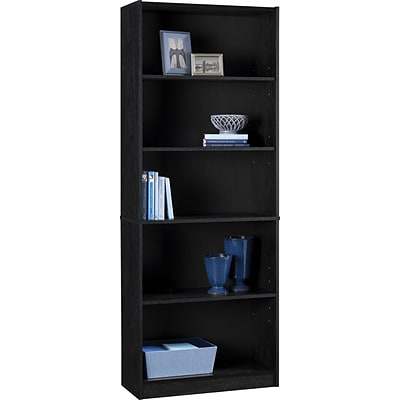Hayden 5-Shelf Standard Bookcase, Black (9615026P)