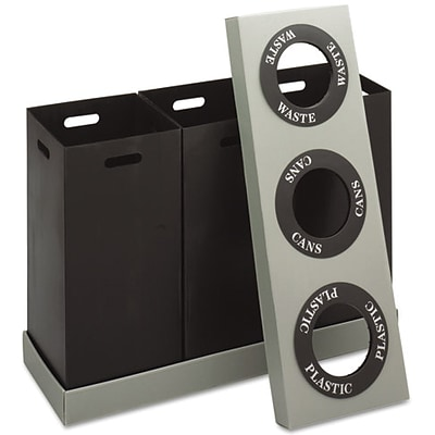Safco At-Your-Disposal Three Bin 28 gal. Plastic Recycling Bins, Black