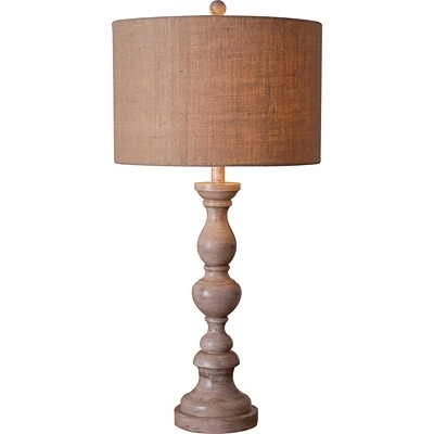 Kenroy Bennett Table Lamp w/ 14 Tan Textured Drum Shade in Toasted Almond