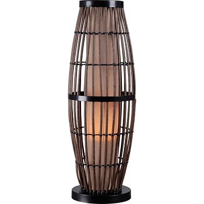 Kenroy Biscayne Outdoor Table Lamp w/ Rattan Finish & 5 Tan Textured Shade
