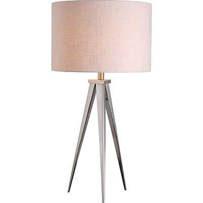 Kenroy Foster Table Lamp w/ Brushed Steel Finish & 15 White Textured Drum Shade