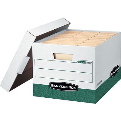 Bankers Box® R-Kive® Storage Boxes, Letter/Legal, Green, 12/Carton