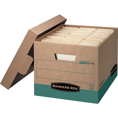 Bankers Box® FastFold™ R-Kive® Storage Boxes, Heavy-Duty, 100% Recycled, Letter/Legal, 12/Carton, 10H x 12W x 15D