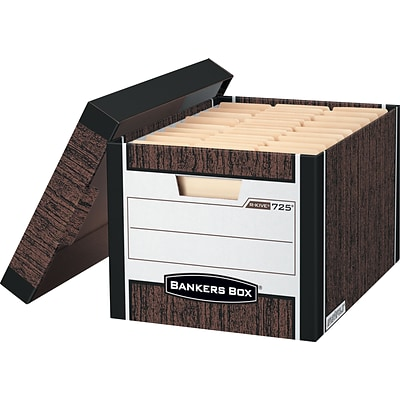 Bankers Box® R-Kive® Heavy-Duty FastFold® Storage Boxes with Lift-Off Lid, Letter/Legal, Woodgrain, 4/Ct (0072506)