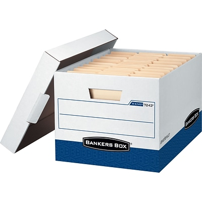 Bankers Box® R-Kive® Heavy-Duty FastFold® Storage Boxes with Lift-Off Lid, Letter/Legal, White/Blue, 12/Ct (07243)