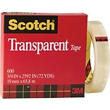 Scotch® Transparent Tape; 3/4 x 2592, 3 Core, 1/Pack
