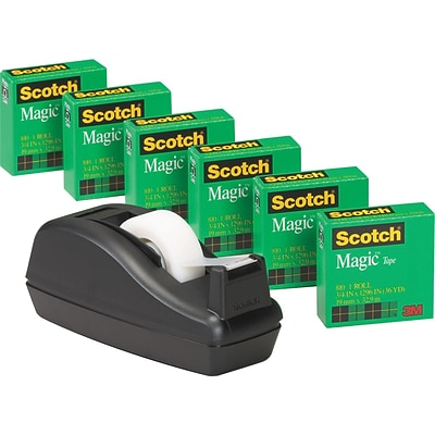 Scotch® Magic™ Tape 6-Roll Bulk Pack with Deluxe Tape Dispenser