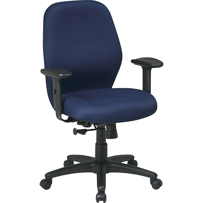 Office Star Fabric Manager Chair with Adjustable PU Padded Arm, Navy Fabric Seat